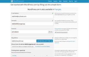 Signing up for WordPress